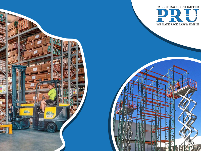 forklift-shifting-brown-boxes-by-an-expert-and-blue-red-colored-racks-by-a-mobile-scissor-lift