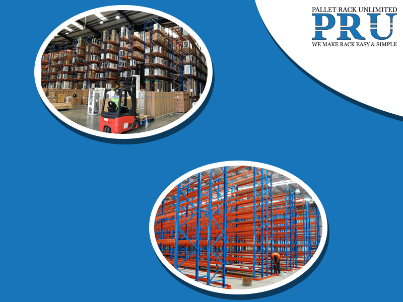 blue-and-yellow-colored-pallet-racks-and-red-and-green-colored-pallet-racks-with-brown-boxes-in-background