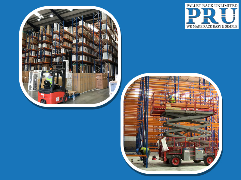 expert-using-a-forklift-to-shift-loads-in-the-racks-and-mobile-scissor-lift-getting-used-to-build-pallet-racks